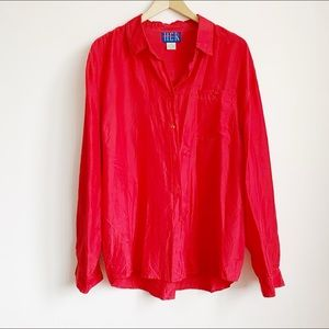 soft billowy bright red pure silk blouse